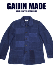 gaijinmade INDIGO DOBBY PATCHWORK COVERALL